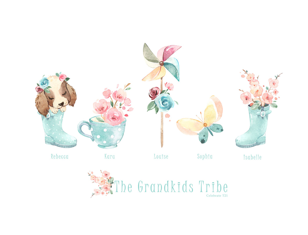My Tribe Personalised Print  - GRANDKIDS A