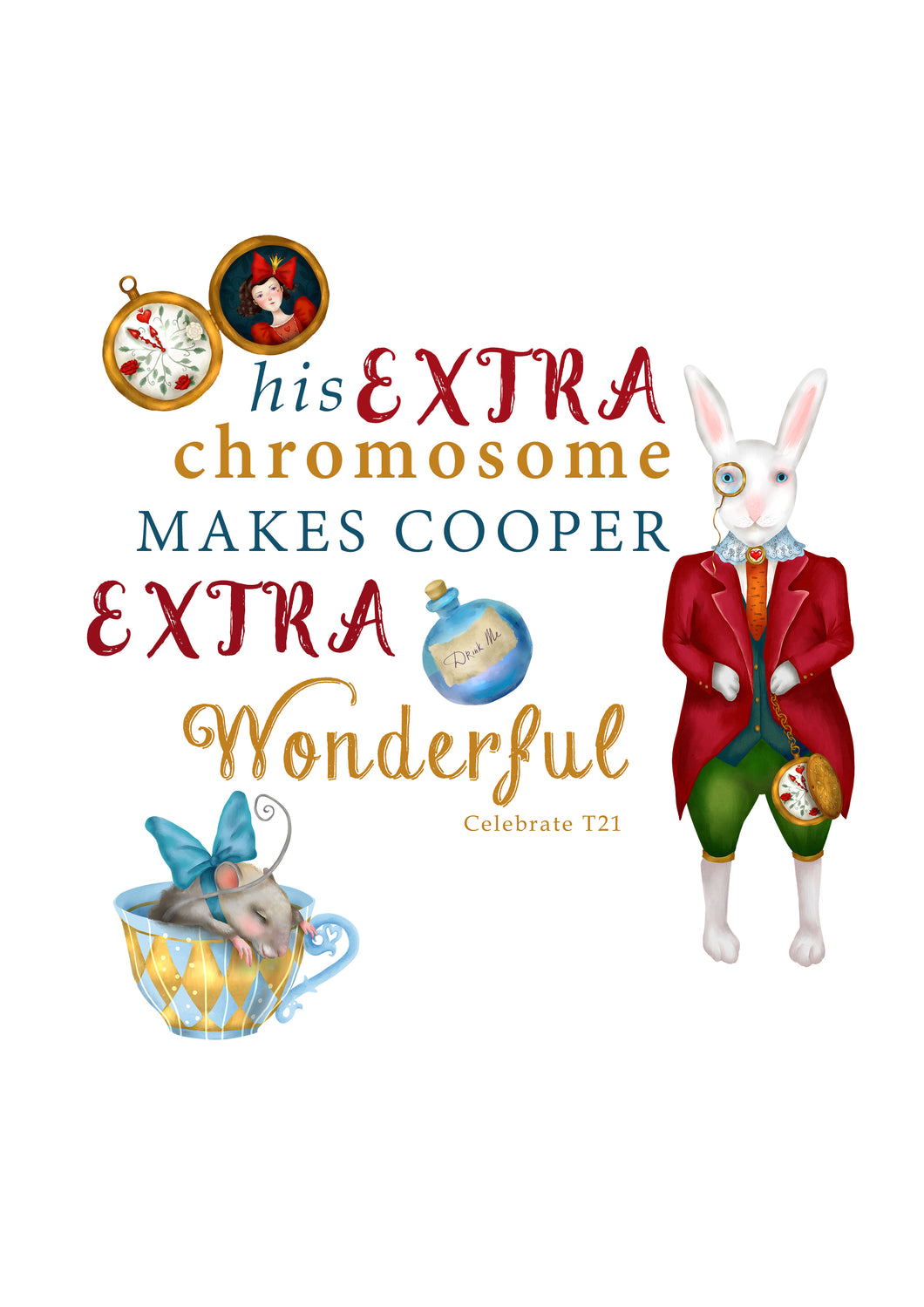 Personalised Prints - Wonderful Alice Rabbit