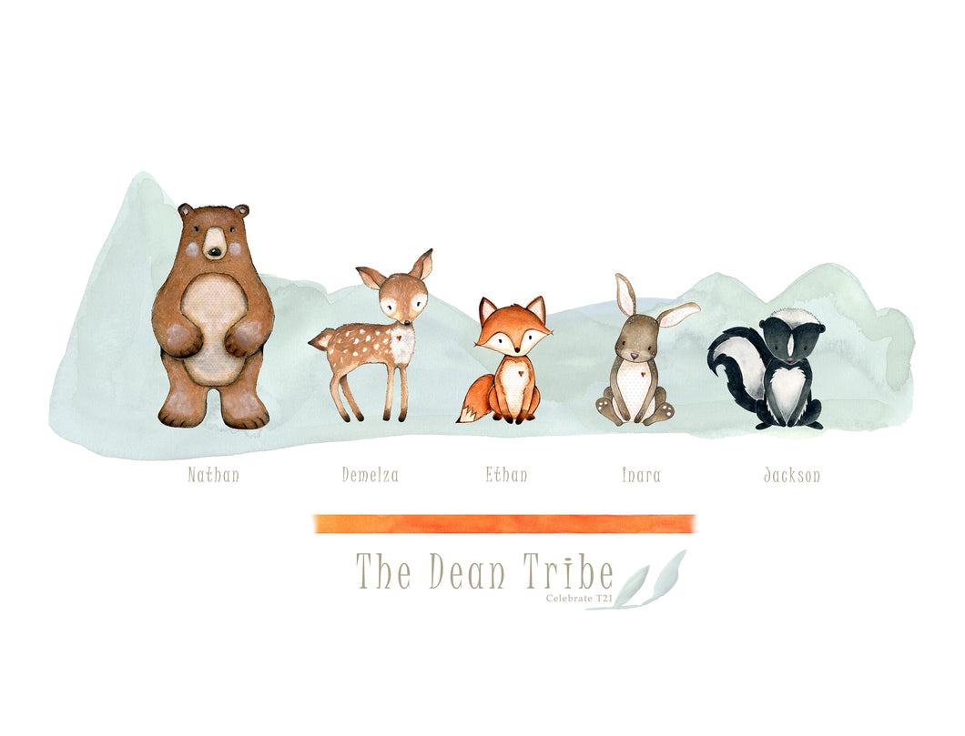 My Tribe Personalised Print  - WOODLAND