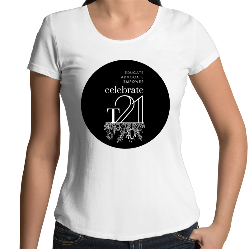 'Celebrate T21 with Flowers' White Only - AS Colour Mali - Womens Scoop Neck T-Shirt