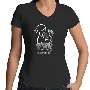 'Mother & Daughter' in Black or White - AS Colour Bevel - Womens V-Neck T-Shirt