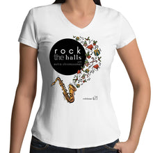 Load image into Gallery viewer, Rock The Halls - 2 designs AS Colour Bevel - Womens V-Neck T-Shirt