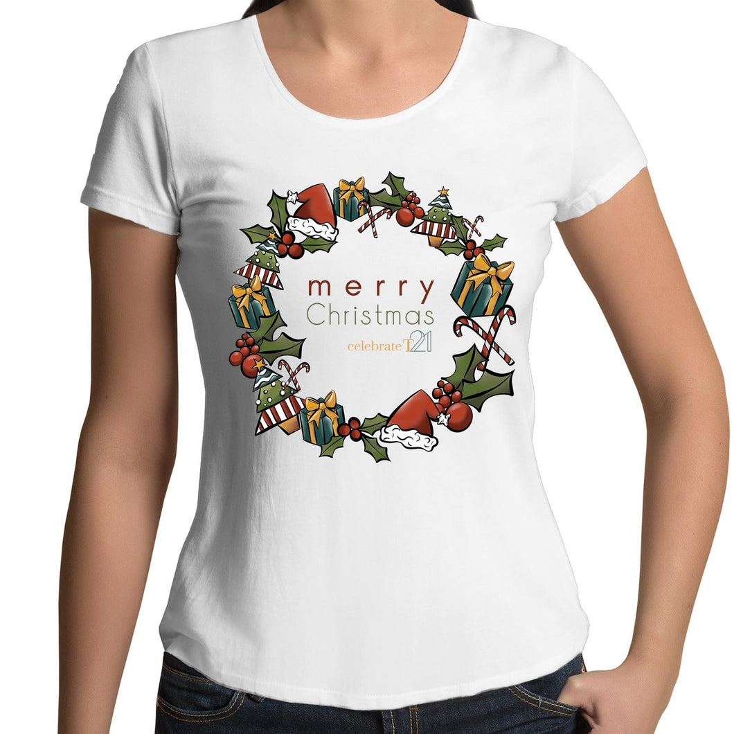 Christmas - 'Celebrate T21 Christmas Wreath'  AS Colour Mali - Womens Scoop Neck T-Shirt