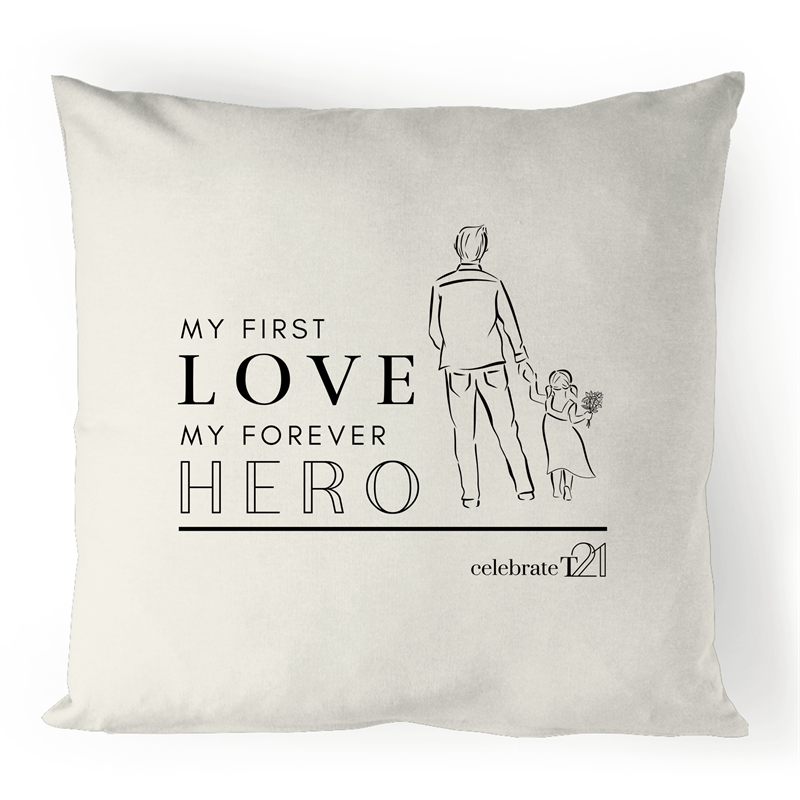 Father and Daughter - 100% Linen Cushion Cover