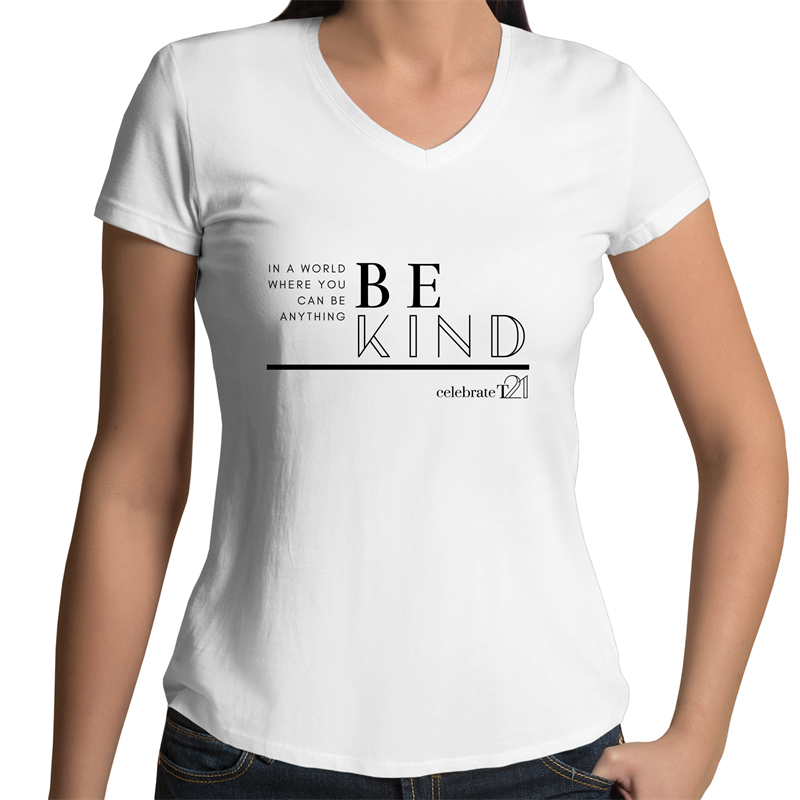 'Be Kind' in Black or White - AS Colour Bevel - Womens V-Neck T-Shirt