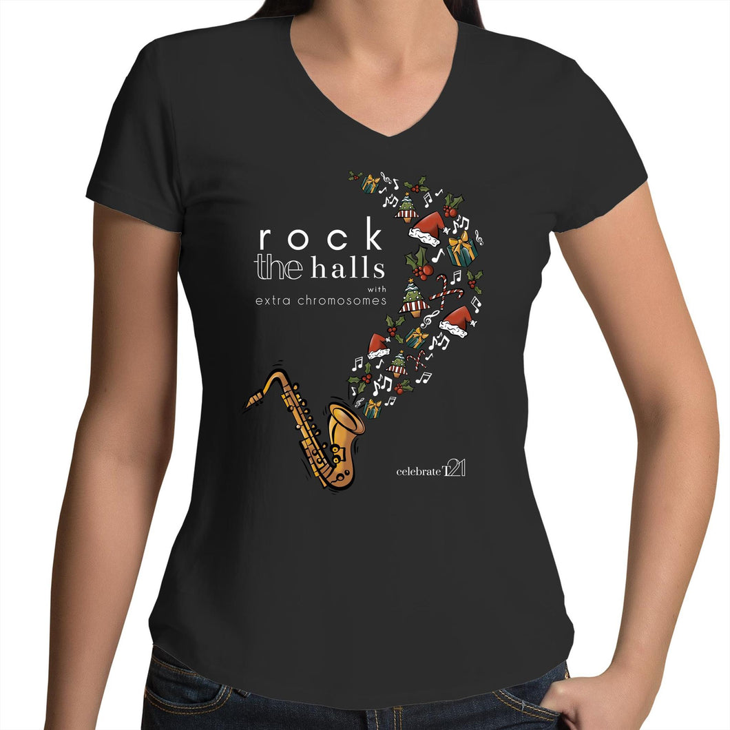 Rock The Halls - 2 designs AS Colour Bevel - Womens V-Neck T-Shirt