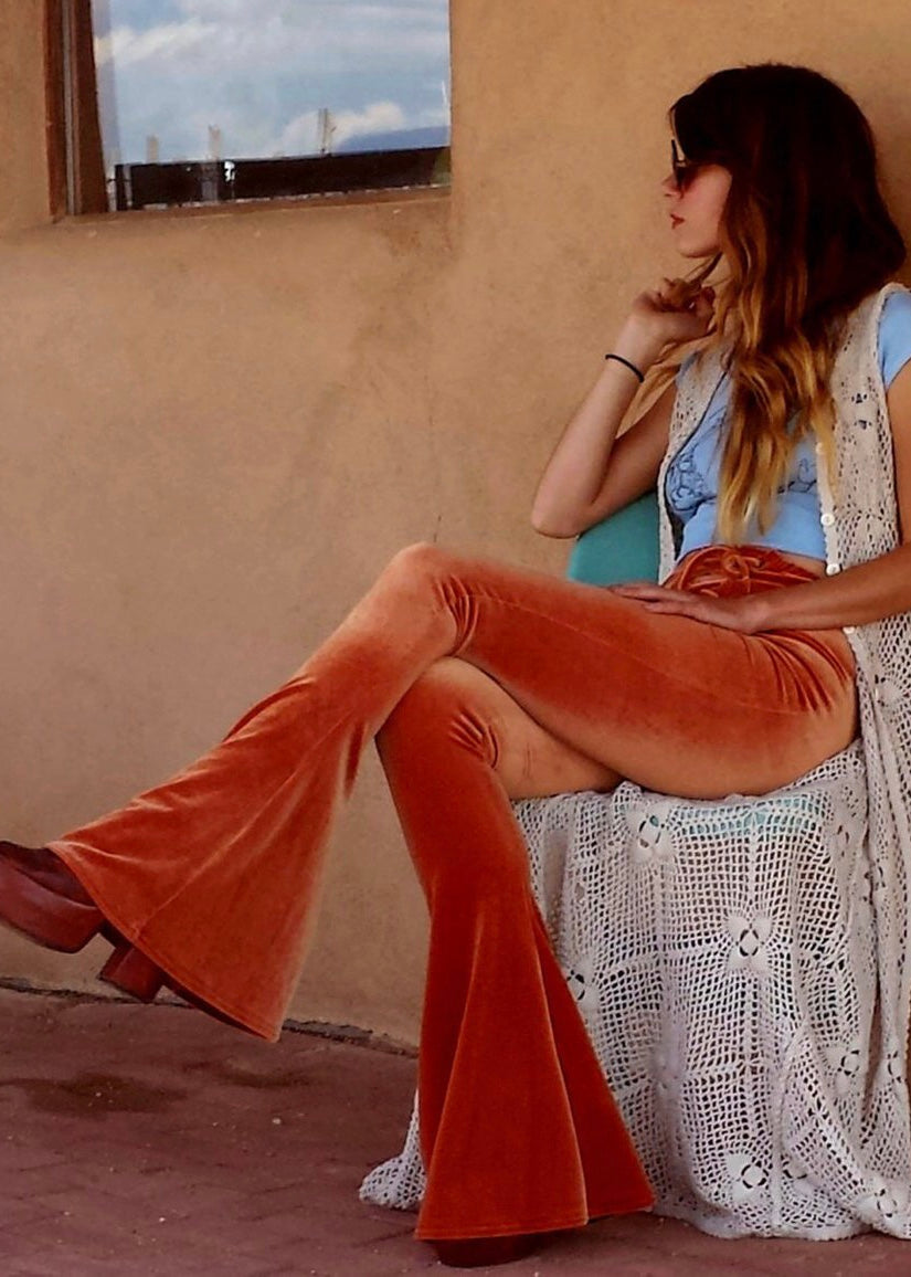 Velvet Lace Up Flares in Rust