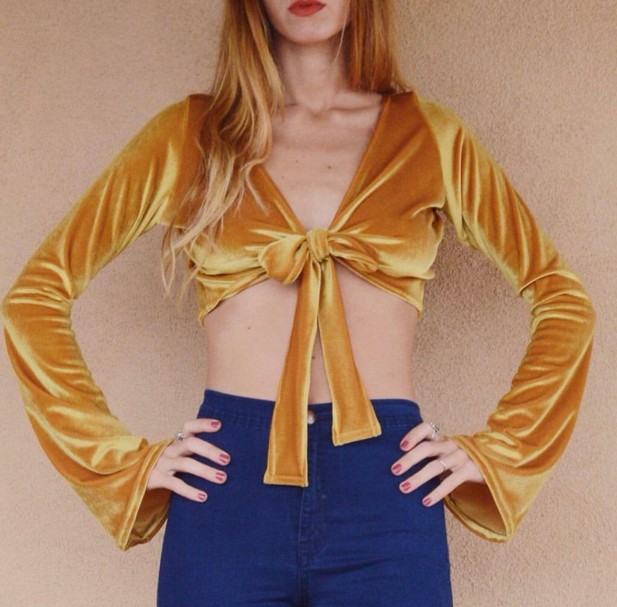 Bell Sleeve Tie Top in Yellow Gold
