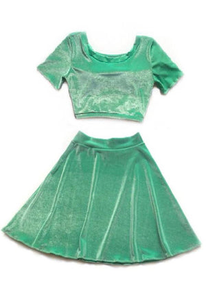 Velvet Short Sleeve Set in Mint