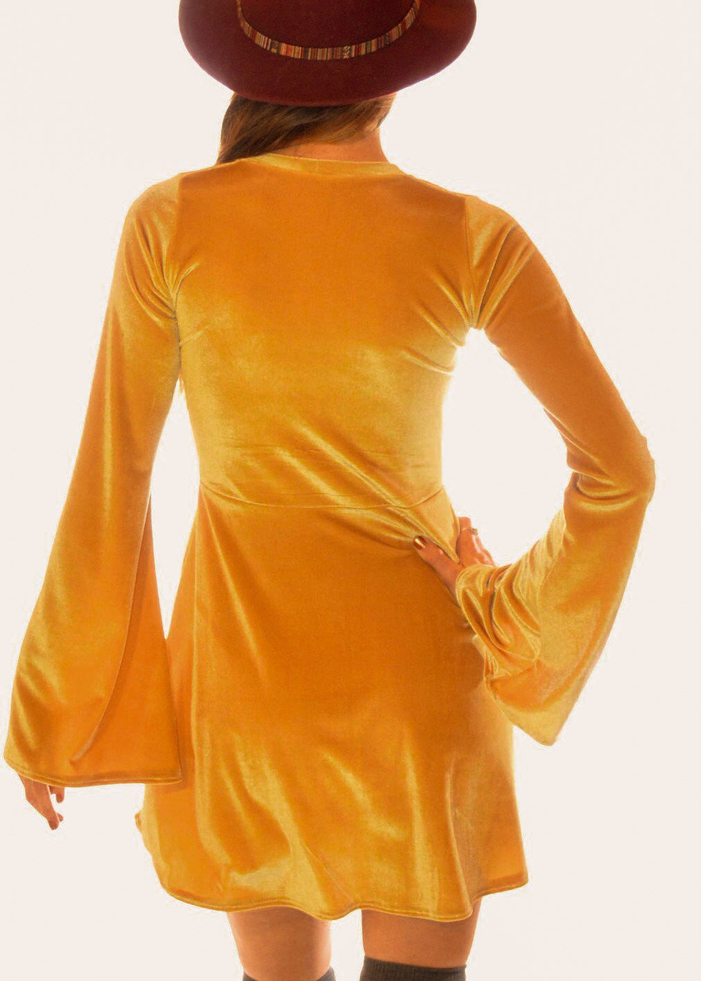 Velvet Lace up Dress with Bell Sleeves in Yellow Gold