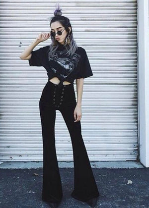 Velvet Lace Up Flares in Black