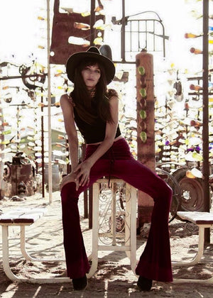 Velvet Lace Up Flares in Wine