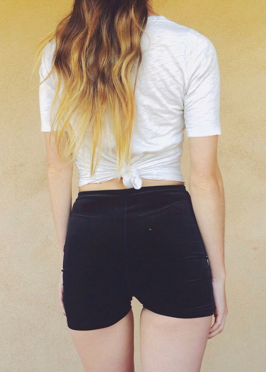 Solid Velvet Lace Up Shorts