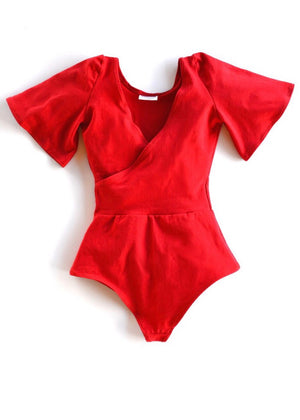 Red Surplice Bodysuit with Flutter Sleeves