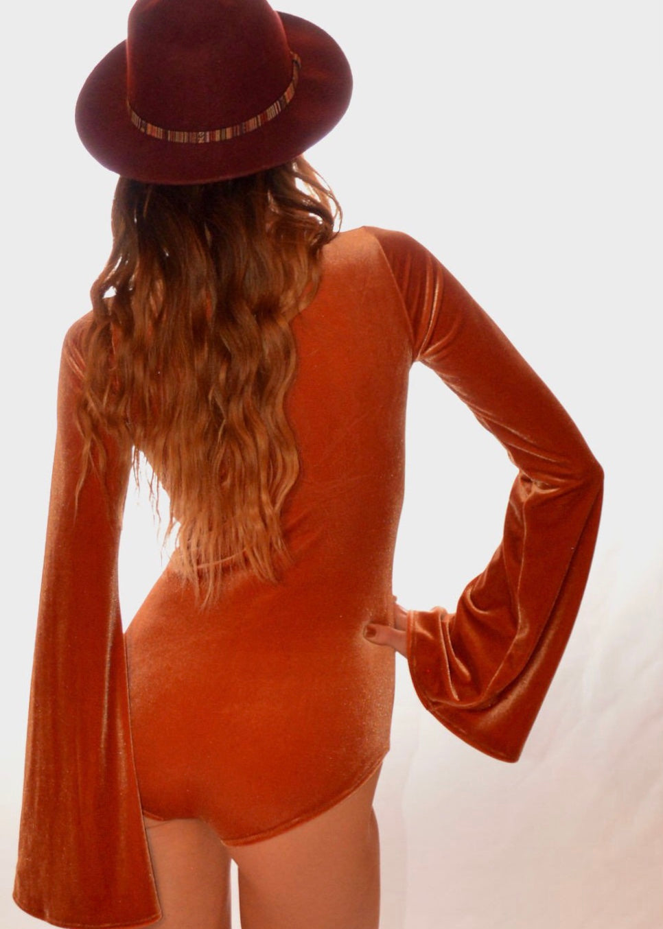 Velvet Lace up Bodysuit with Bell Sleeves in Rust