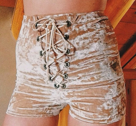 Crushed Velvet Lace Up Shorts