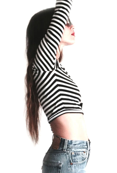 Long Sleeve Crop Black/White Stripes