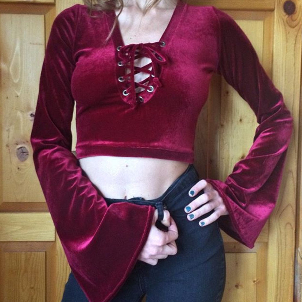 Velvet Lace up Crop with Bell Sleeves