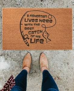 A Fisherman Lives Here Doormat