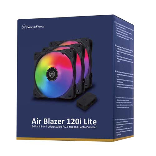 SilverStone AB120I 120mm ARGB Fan - 3 Fan Pack With ARGB Fan Controler
