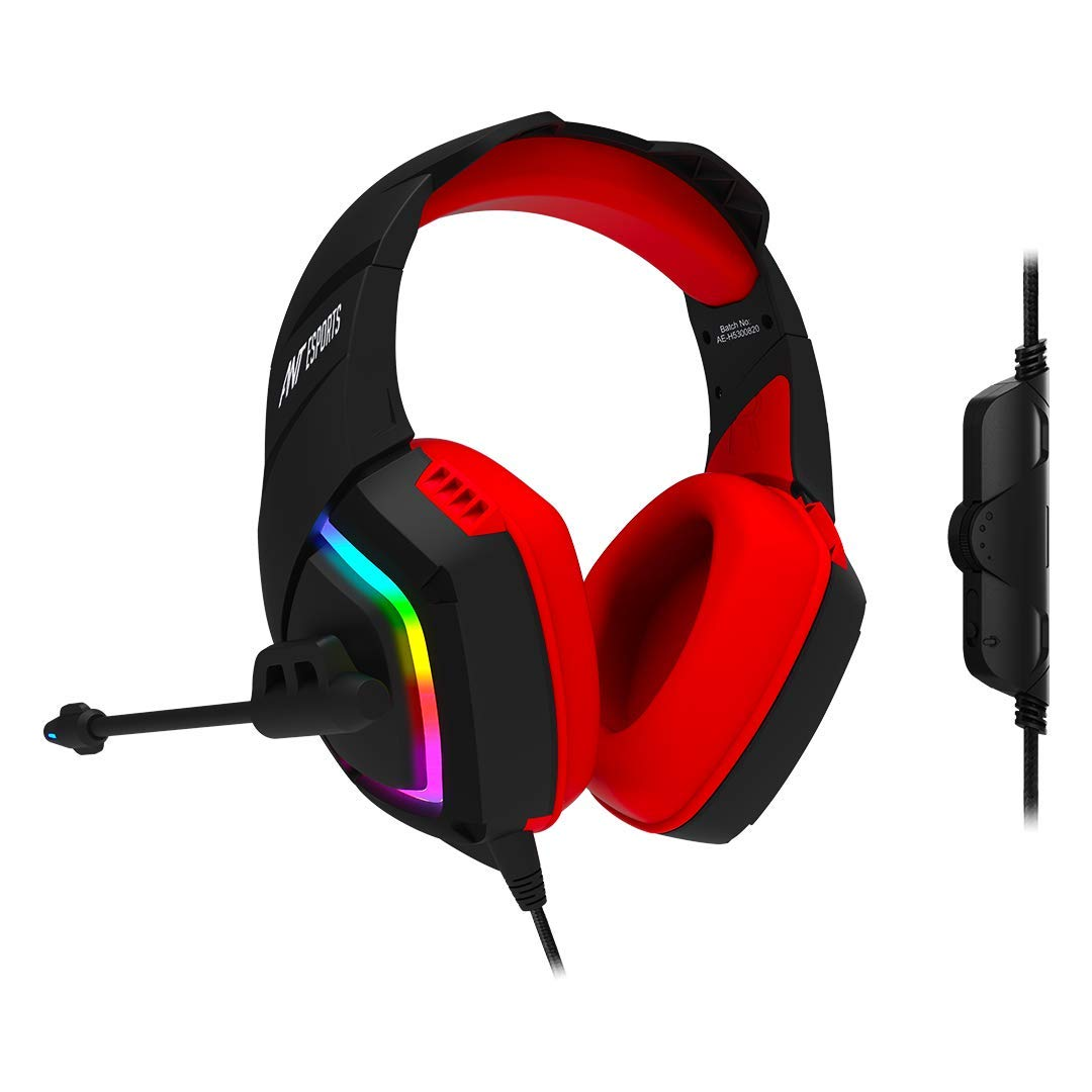 Ant Esports H530 Multi-Platform Pro LED Gaming Headset – RGB ( Black – Red )