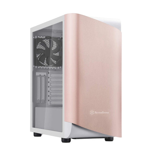 Silverstone SETA A1 Mid-Tower ATX Computer Case SST-SEA1GW-G (Rose Gold on white, tempered glass)