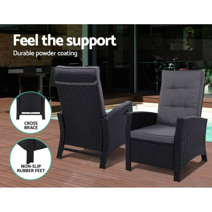Gardeon Outdoor Setting Recliner Chair Table Set Wicker lounge Patio Furniture
