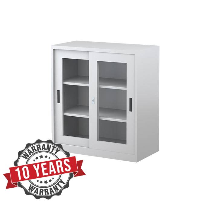 Two Shelves Sliding Glass Door Cabinet