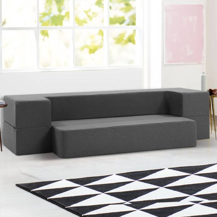 Giselle Bedding Portable Sofa Bed Folding Mattress Lounger Chair Ottoman Grey