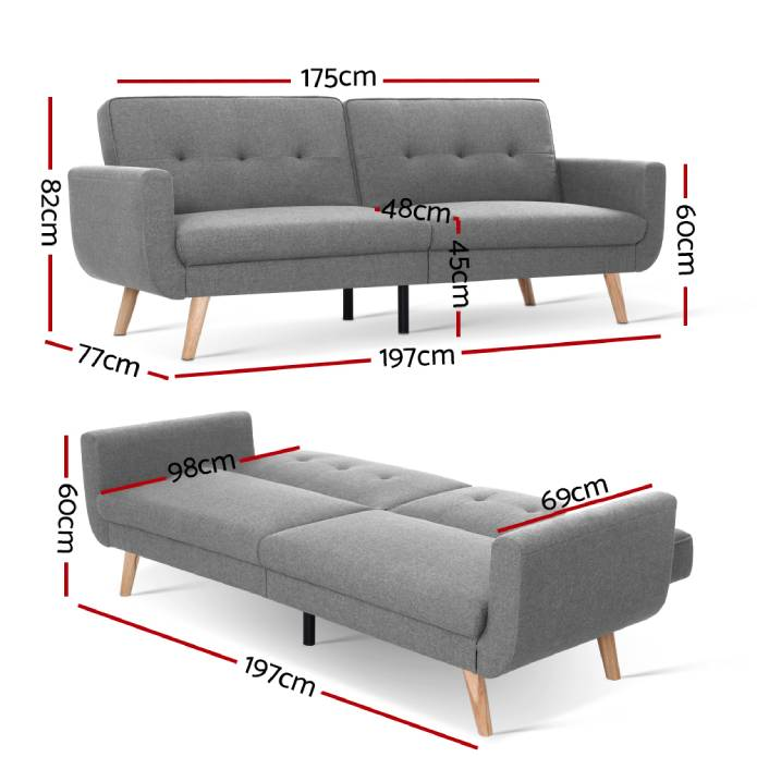 Artiss Sofa Bed Lounge Set Couch Futon 3 Seater Fabric Reliner 197cm