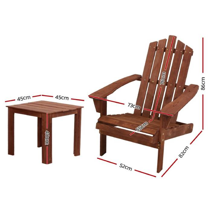 Gardeon Outdoor Sun Lounge Beach Chairs Table Setting Wooden Adirondack Patio Chair Lounge