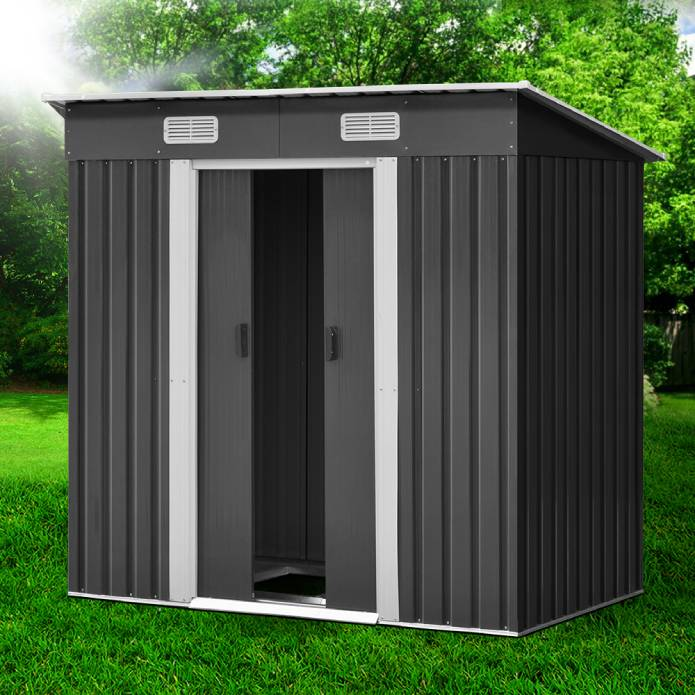 Giantz 1.94 x 1.21m metal Base Garden Shed - Grey