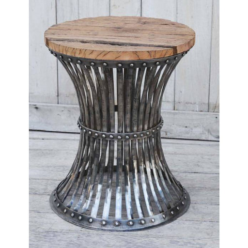 Inverted Wood and Iron side Table