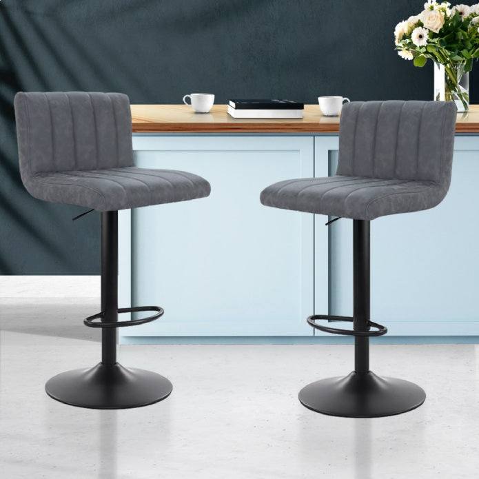Artiss Set of 2 Kitchen Bar Stools Swivel Vintage Bar Stool Pu Leather Gas Lift Chairs