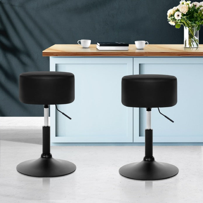 Artiss Set of 2 Kitchen Bar Stools Accent Chairs Gas Lift Stool Swivel Barstools Pu Leather Black