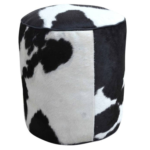 Cylindrical Cowhide Ottoman