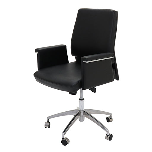 Chrome 5 star spider base Medium Back Executive Office Chair