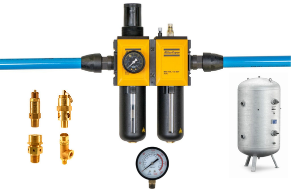 Air compressor accessories | Tanks, switches, gauges, FRL's, relief valves