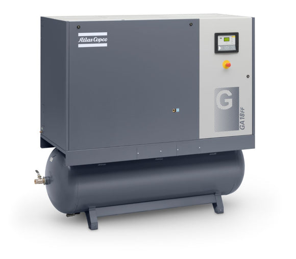 Atlas Copco GA18-175 AFF 132 Gallon API 25-HP Rotary Screw Air Compressor w/ Dryer (208-230/460/3/60)