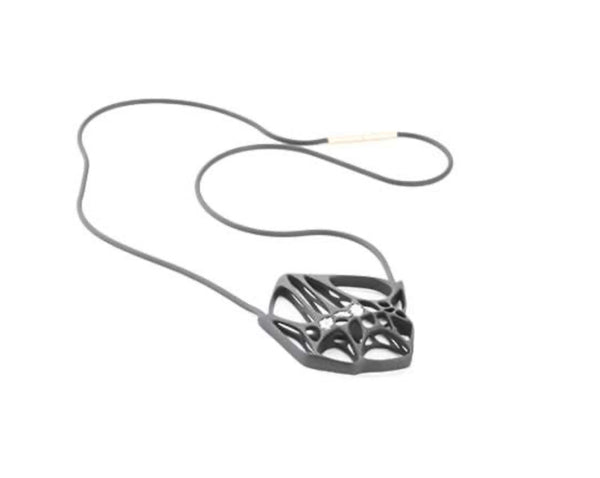Flowen Hexa Pendant in Black Gommato With Ice Diamonds With Long Black Chain