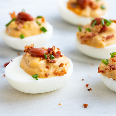 Jalapeño Bacon Bean Deviled Eggs
