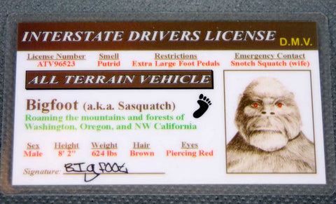 Laminated Bigfoot Driver's License
