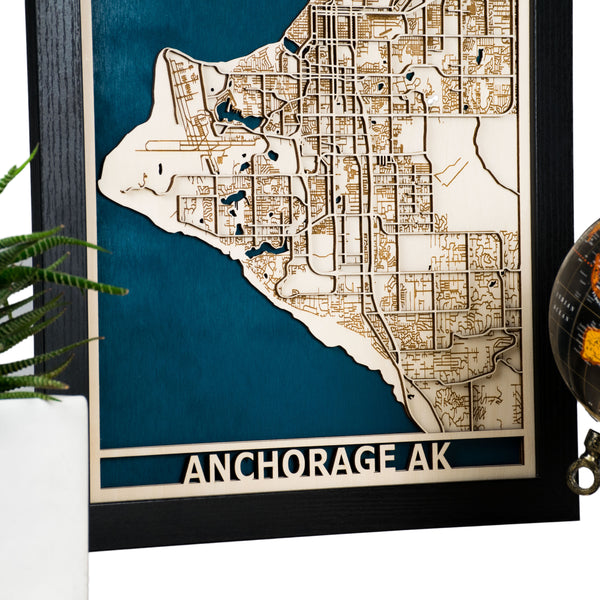 Anchorage AK 3D Wooden Map