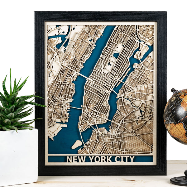 New York City Laser Cut Map