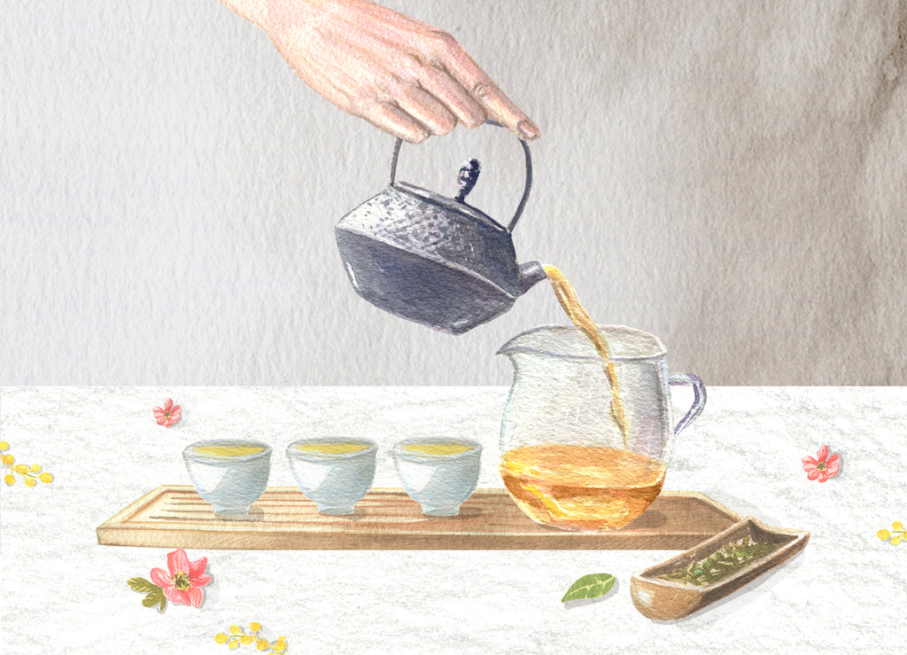 Watercolor painting of Gongfu Chinese tea brewing from Anna Fedorovich for P & T