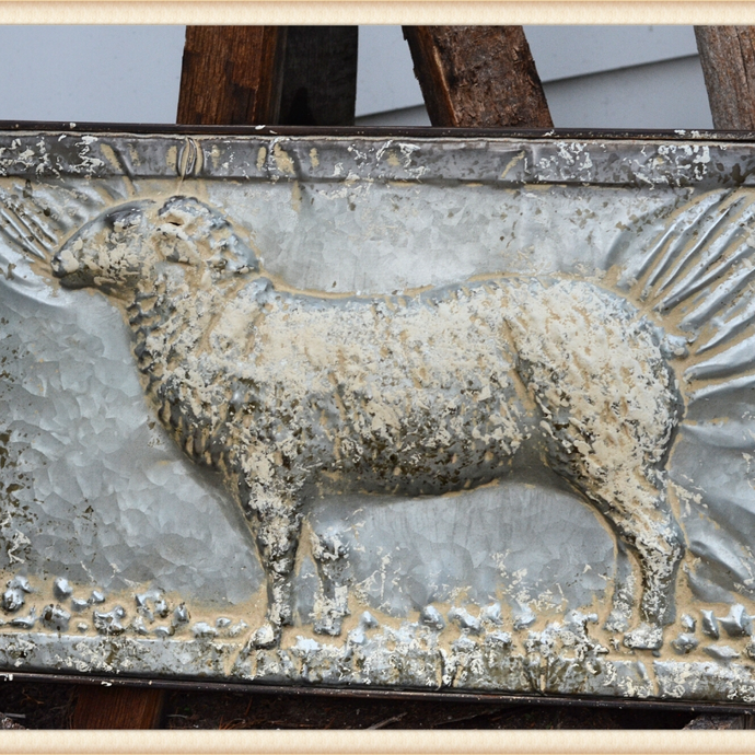 Stamped Steel Sheep Plaque