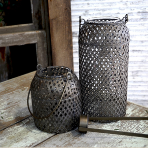 Burnished Metal Votive Lantern Short
