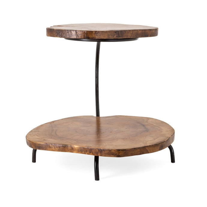 Two-Tier Teak Wood Stand