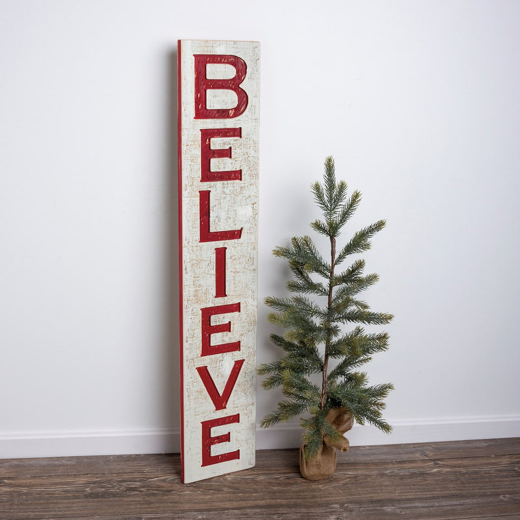 Jumbo Carved Believe Sign