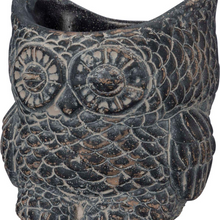 Load image into Gallery viewer, Black Cement Owl Planter